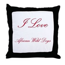 I Love African Wild Dogs Throw Pillow