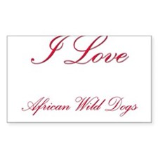 I Love African Wild Dogs Rectangle Sticker