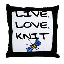"""Live, Love, Knit"" Throw Pillow"