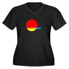 Damian Women's Plus Size V-Neck Dark T-Shirt