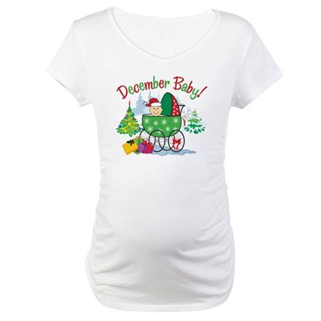 Due in December Baby in Stroller Maternity Shirt