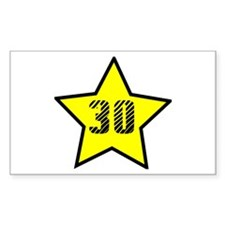 30th Birthday Star Rectangle Decal