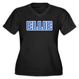 Retro Ellie (Blue) Women's Plus Size V-Neck Dark T