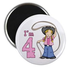 "Cowgirl Roper 4th Birthday 2.25"" Magnet (100 pack)"