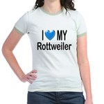 I Love My Rottweiler Jr. Ringer T-Shirt