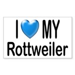 I Love My Rottweiler Rectangle Sticker