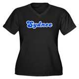 Retro Sydnee (Blue) Women's Plus Size V-Neck Dark