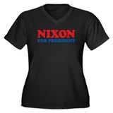 Nixon Women's Plus Size V-Neck Dark T-Shirt