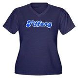Retro Tiffany (Blue) Women's Plus Size V-Neck Dark