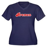 Retro Bremen (Red) Women's Plus Size V-Neck Dark T