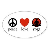 Peace Love Yoga Oval Decal