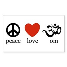 Peace Love Om Rectangle Decal