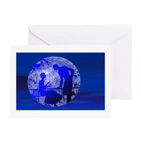 Blue Moon Lovers Greeting Card