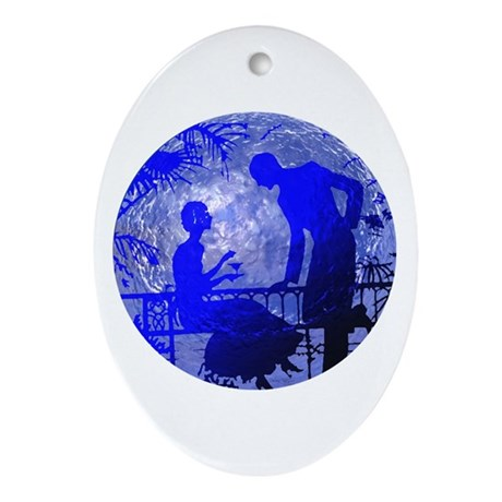 Blue Moon Lovers Oval Ornament