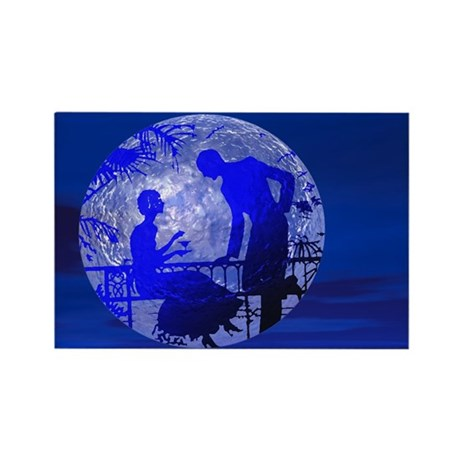 Blue Moon Lovers Rectangle Magnet
