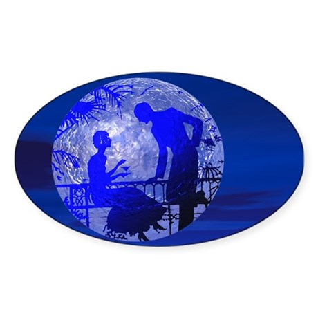 Blue Moon Lovers Oval Sticker