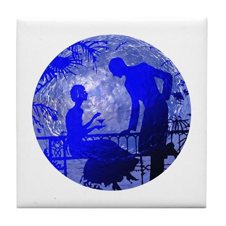 Blue Moon Lovers Tile Coaster