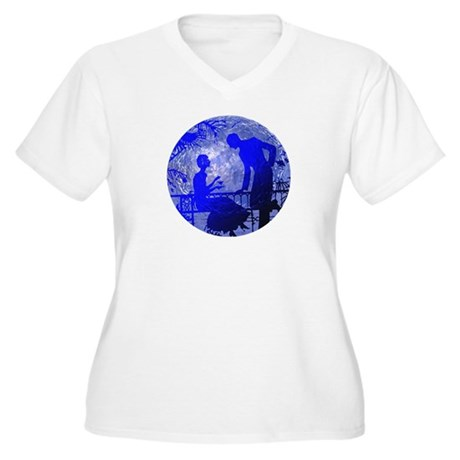 Blue Moon Lovers Women's Plus Size V-Neck T-Shirt
