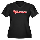 Retro Chennai (Red) Women's Plus Size V-Neck Dark