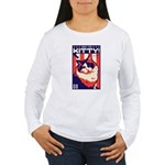 Obey the Kitty! USA Women's Long Sleeve T-Shirt