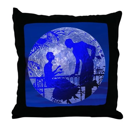 Blue Moon Lovers Throw Pillow