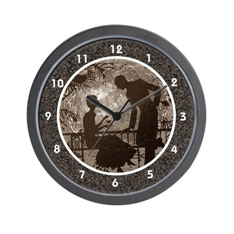 Sepia Brown Moon Lovers Clocks Wall Clock