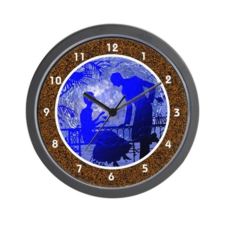 Brown - Blue Moon Lovers Clocks Wall Clock