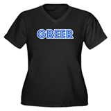 Retro Greer (Blue) Women's Plus Size V-Neck Dark T