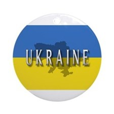 Ukraine Flag Extra Ornament (Round)