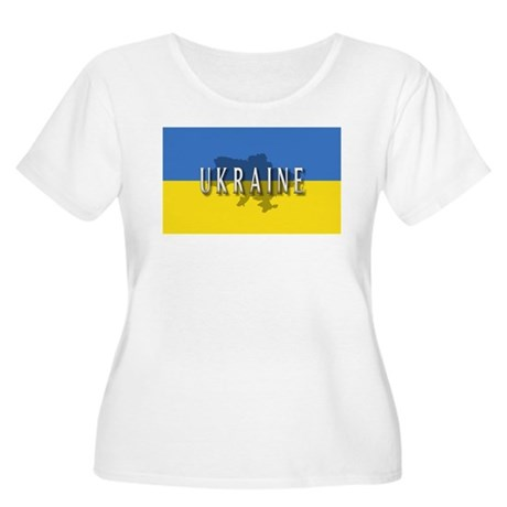 Ukraine Flag Extra Women's Plus Size Scoop Neck T-