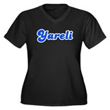 Retro Yareli (Blue) Women's Plus Size V-Neck Dark