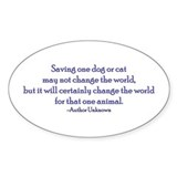 Saving One Life At a Time Oval Sticker (50 pk)
