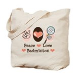 Peace Love Badminton Tote Bag