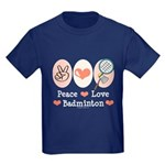 Peace Love Badminton Kids Dark T-Shirt