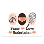 Peace Love Badminton Postcards (Package of 8)