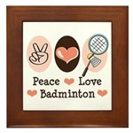Peace Love Badminton Framed Tile