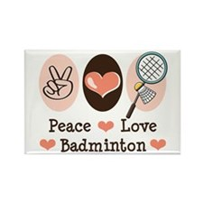 Peace Love Badminton Rectangle Magnet (10 pack)