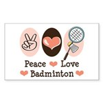 Peace Love Badminton Rectangle Sticker