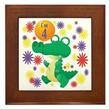 I'm 4 Birthday Alligator Framed Tile