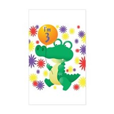 I'm 3 Birthday Alligator Rectangle Stickers