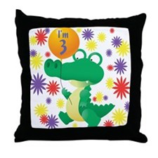 I'm 3 Birthday Alligator Throw Pillow