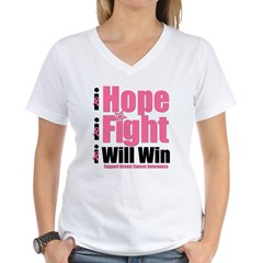 Hope, Fight, Win BC Women's V-Neck T-Shirt
