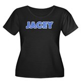 Retro Jacey (Blue) Women's Plus Size Scoop Neck Da