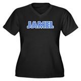 Retro Jamel (Blue) Women's Plus Size V-Neck Dark T