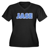 Retro Jase (Blue) Women's Plus Size V-Neck Dark T-