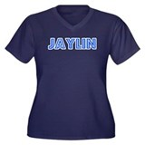 Retro Jaylin (Blue) Women's Plus Size V-Neck Dark