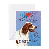 Irish Red &amp; White Setter Greeting Card