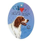 Irish Red &amp; White Setter Oval Ornament