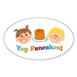 Yay Pancakes! Oval Sticker (10 pk)
