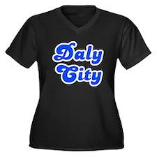 Retro Daly City (Blue) Women's Plus Size V-Neck Da
